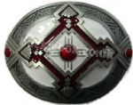 AZTEC DESIGN (WHITE) Belt Buckle + display stand. Product code: GG4